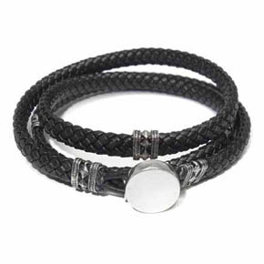 Leather & Silver Buttoned Wrap Bracelet