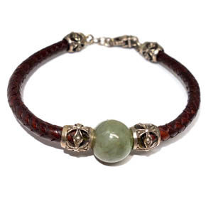 Leather, Silver, & Jade Bracelet