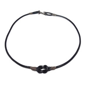 Leather & Silver Wire Necklace