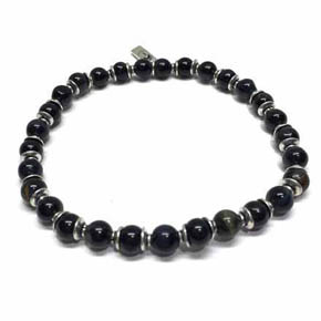 Limited Edition 6mm Blue Tigers Eye & Silver Beaded Bracelet