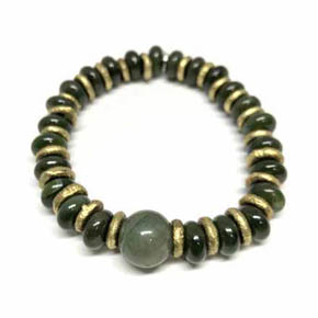 Limited Edition Brass & Jade Men's Beaded Bracelet