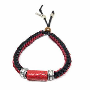 Limited Edition Coral & Leather Men's Bracelet