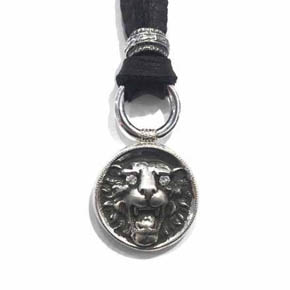 Limited Edition Diamond & Silver Carved Lion Men's Pendant Necklace