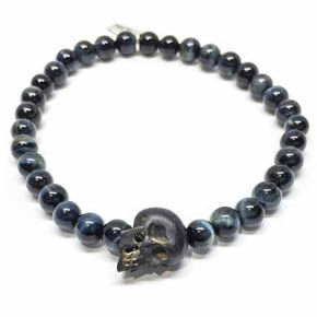 Limited Edition Jet Skull & Blue Tiger's Eye Beaded Bracelet