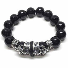 Limited Edition Python Skin, Silver & Onyx Beaded Bracelet