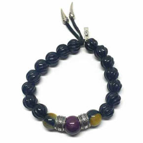 Limited Edition Ruby, Tiger's Eye & Oynx Beaded Bracelet