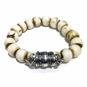 Limited Edition Silver Fleur-De-Lis & Conch Shell Men's Bracelet