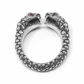 Limited Edition Silver & Ruby Double Snake Ring