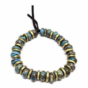 Limited Edition Turquoise & Hammered Brass Men's Beaded Bracelet