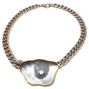 Mabe Pearl, 18kt Gold, & Sterling Silver Chain Necklace