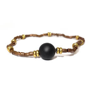 Matte Finish Onyx & Brass Bracelet