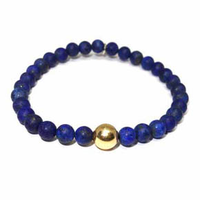 Matte Lapis & 14KT Gold Men's Beaded Bracelet