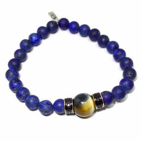 Limited Edition Matte Lapis, 14KT Gold & Tigers Eye Beaded Bracelet