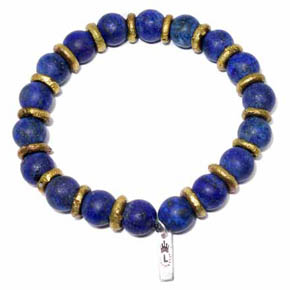 Matte Lapis & Brass Men's Beaded Bracelet