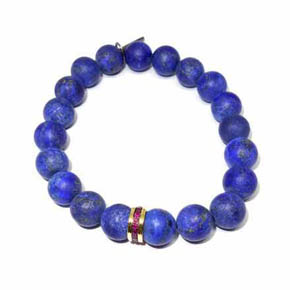 Limited Edition Matte Lapis, Ruby & 14KT Gold Beaded Bracelet