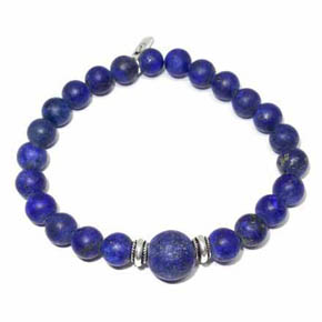 Limited Edition Matte Lapis & Silver Beaded Bracelet