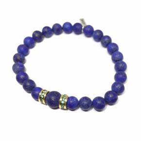 Matte Lapis, Tsavorite & 14KT Gold Men's Beaded Bracelet