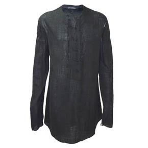 Mavranyma Black Lace Up Linen Shirt