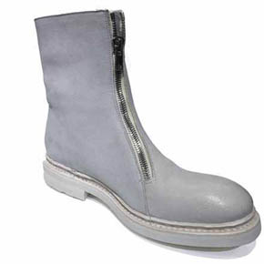 The Last Conspiracy Men's Grey Leather Zip Boots