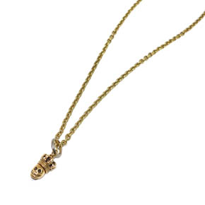Mini Brass King Skull Pendant