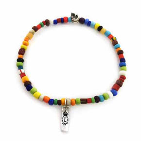 Multi-Color African Glass Men's & Silver Skull Bracelet