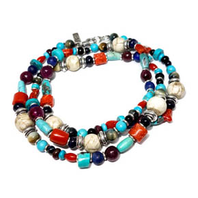 Turquoise, Coral, Ruby, Sapphire, & Tourmaline Necklace & Wrap Bracelet