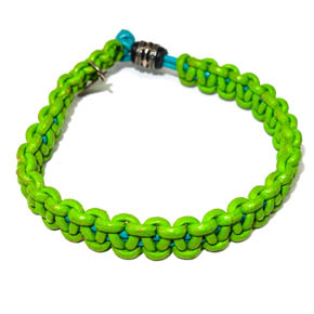 Neon Leather & Sterling Silver Bracelet