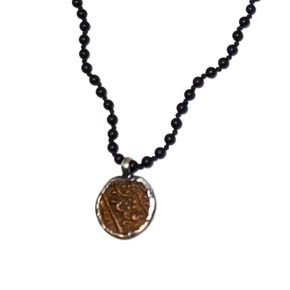 Onyx & Ancient Brass Coin Necklace