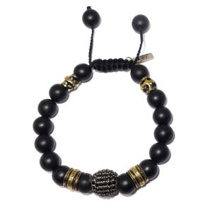 Onyx, Brass, & Spinel Adjustable Bracelet