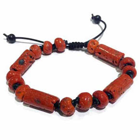 Onyx, Leather & Red Ceramic Beaded Men's Bracelet