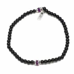 Onyx & Ruby Men's Beaded Bracelet