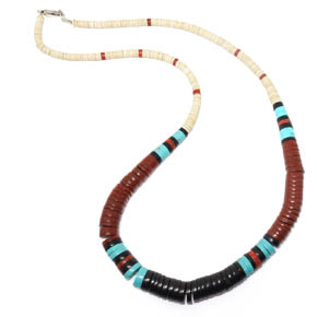 Onyx, Shell, & Turquoise Heishi Style Necklace