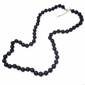 Onyx & Silver Men's Beaded Necklace