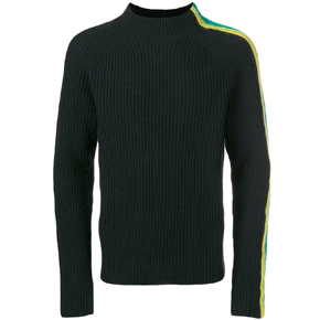 Paura Black High Neck Stripe Sweater