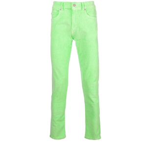Paura Green Velvet Corduroy Slim Fit Pants