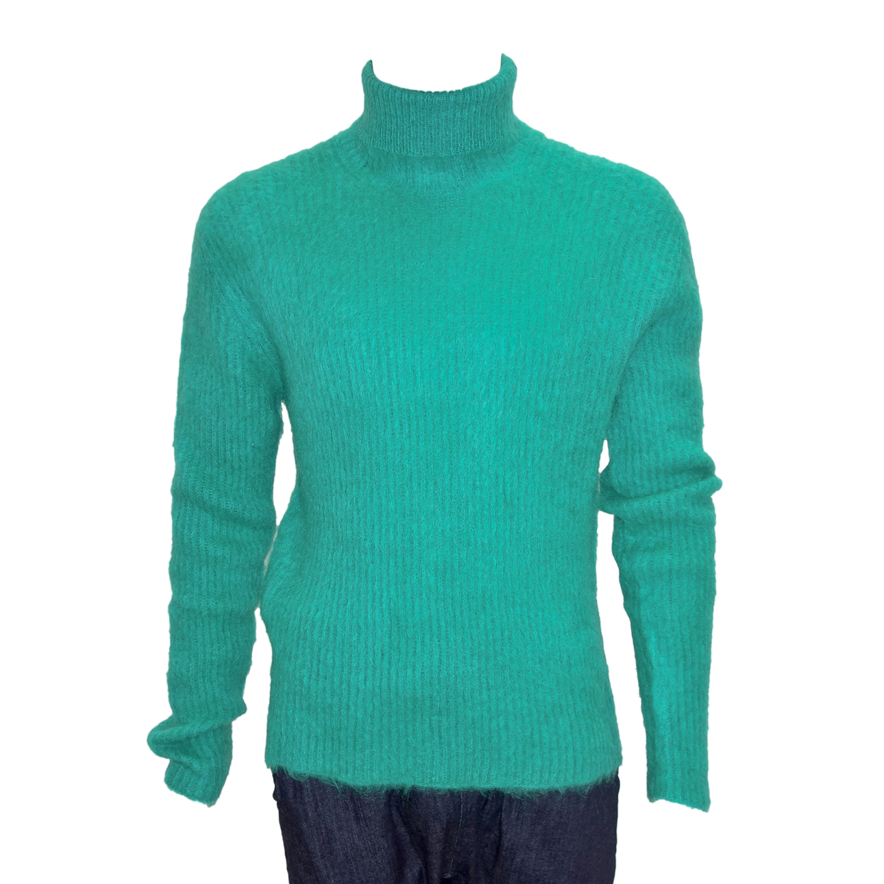 Paura High Neck Green Mohair Sweater