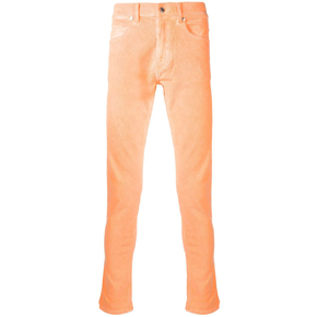 Paura Orange Velvet Corduroy Slim Fit Pants