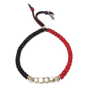 Red & Black African Trade Beads, Brass, & Leather Bracelet