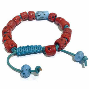 Red & Blue Ceramic and Leather Men's Bracelet