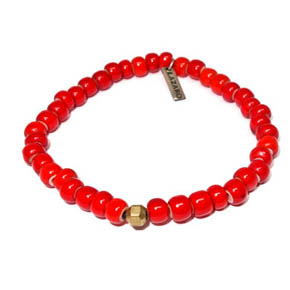 Red Ceramic & Bronze Bracelet