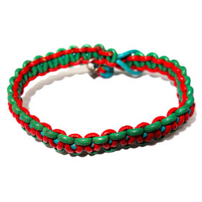 Red & Green Woven Leather Bracelet