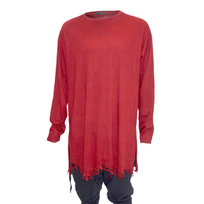 Red Long Sleeve Destroyed Hem Shirt