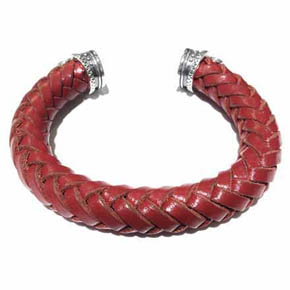 Red & Silver Capped Leather Men's Cuff Bracelet