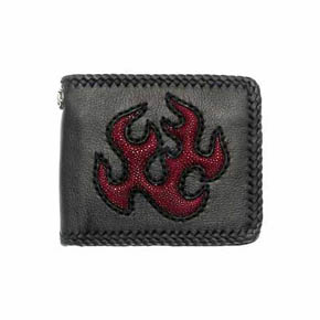 Red Sting Ray Flames on Black Leather Men's Wallet