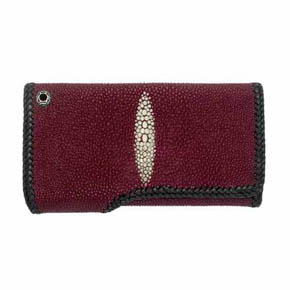 Red Sting Ray Leather Trifold Men's Wallet
