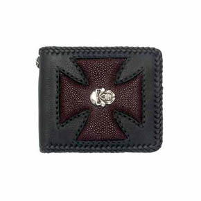 Red Sting Ray Maltese Cross and Silver Skull Men's Wallet