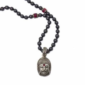 Ruby & Silver Buddha Pendant on Hematite & Ruby Beaded Chain