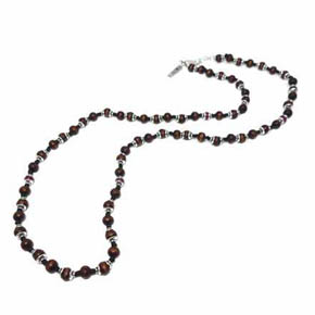 Ruby, Silver & Wood Beaded Necklace