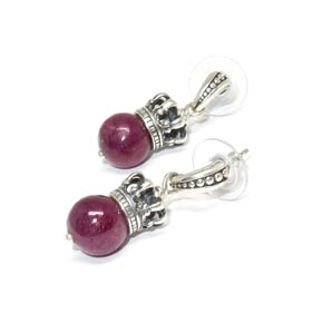 Ruby & Sterling Silver Crown Earrings
