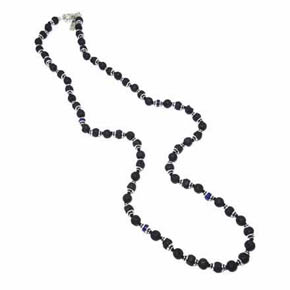 Sapphire & Lava Men's Beaded Necklace